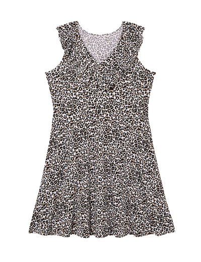 leopard print plus size dress with ruffles
