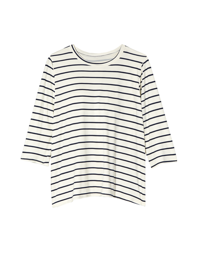 A plus-size style staple in one, striped and long-sleeve tee