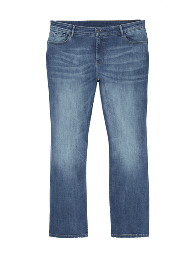 Medium-wash bootcut jeans which are perfect for plus-size fall fashion