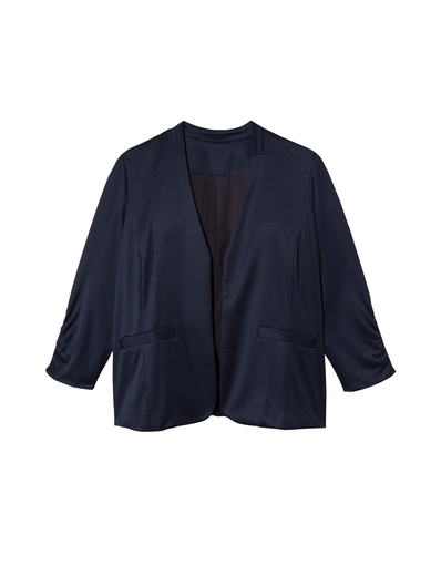 A navy or black blazer and a staple for in-style plus size clothing basics