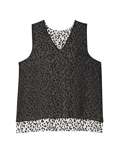 leopard print plus size sheer overlay tank