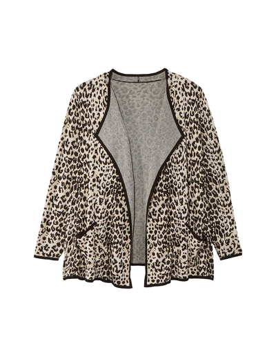 leopard print plus size draped cardigan