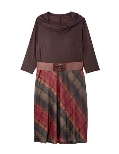 menswear plus size mixed media belted plaid and cowl neck dress