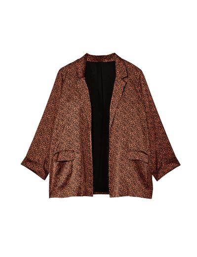 leopard print plus size tan blazer