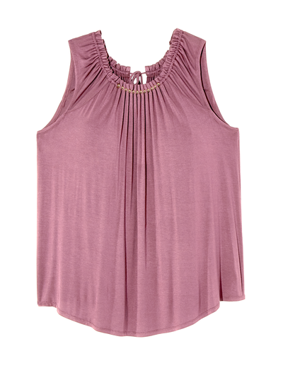 jewel tones plus size pink tank with ruching detail