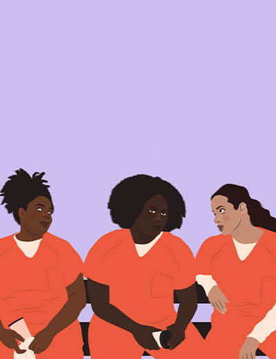 illustration of Adrienne Warren, Danielle Brooks, and Dascha Polanco from Orange Is The New Black