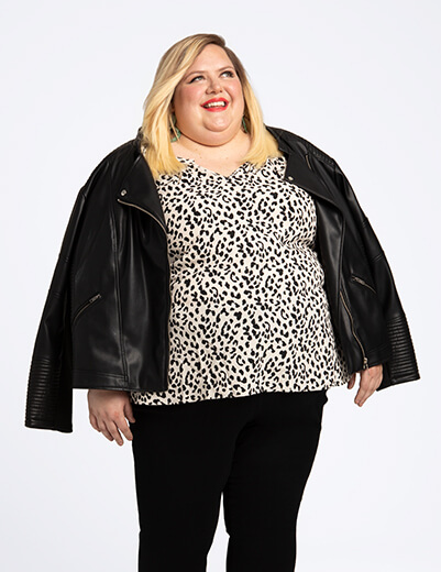 rebecca alexander in plus size jacket leopard print top black jeans