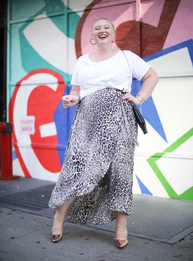 Dia Stylist Ashby wears a plus size leopard midi skirt.