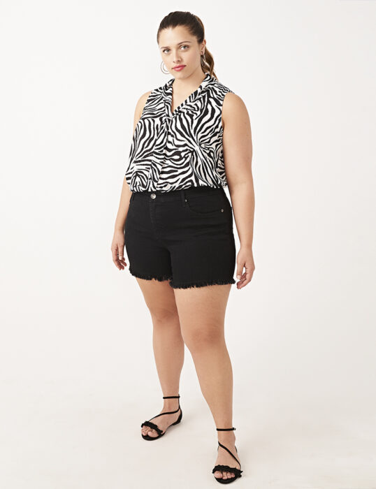 Plus size online dating, black frayed hem shorts  Dia & Co